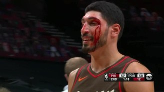 Enes Kanter Got A Nasty Cut Over His Eye After Taking An Elbow From Teammate Robert Covington