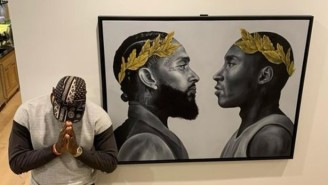 LeBron James Showed Off An Incredible Kobe Bryant And Nipsey Hussle Painting In His House
