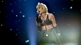 Miley Cyrus Brought Out Billy Idol For A Medley Of 'Night Crawling' And 'White Wedding' During Her Super Bowl Pre-Show