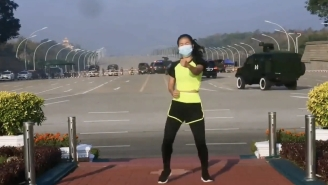 An Absurd Viral Video Shows A Woman Recording An Aerobics Lesson In The Middle Of The Myanmar Coup