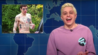 Pete Davidson Talked Valentine's Day, Britney Spears And Made Fun Of His Own Tattoos On 'SNL'