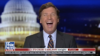 Tucker Carlson Has Never Been Happier Than He Was Last Night When He Trolled Sean Hannity With A Photo Of A Male CNN Anchor's Legs