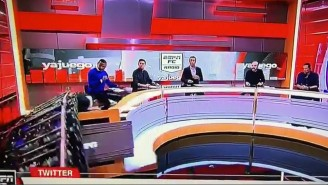 An ESPN Colombia Analyst Is OK After Getting Crushed By A Falling Set Piece On Air