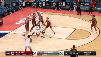 Arkansas Guard Davonte Davis Had To Hike A Basketball To Set Up A Wide-Open Three Against Colgate