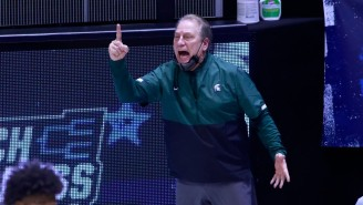 Tom Izzo Was Furiously Grabbing At Gabe Brown As Michigan State Went To Halftime Against UCLA