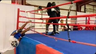 This Poor Amateur Boxer Got Knocked Clean Out Of The Ring By A First Time Fighter
