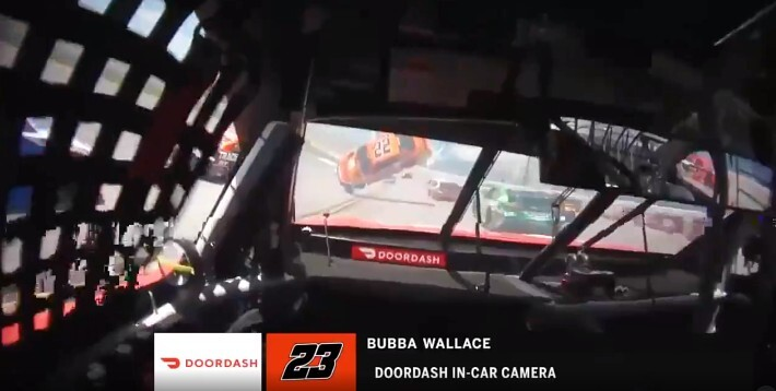 Bubba Wallace's View Of Joey Logano's Car Flipping In Front Of Him Is Straight Out Of A Movie