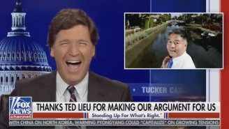Tucker Carlson Unleashed Another Bizarre, Maniacal Laugh On His Show, This Time While Braying About His Racist 'White Replacement' Theory