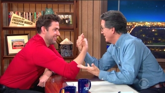 Stephen Colbert Challenged John Krasinski To An Arm Wrestling Match And… Well, You'll Just Have To Watch It