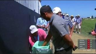 Sebastian Munoz Managed To Hit A Drive Into A Trash Can At The PGA Championship