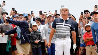 A Fan Ran Onto The Fairway Behind Bryson And Hit A Couple Shots Before Getting Tackled At The US Open