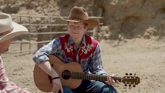 Ed Sheeran Leaves His Vampire Ways Behind To Become A Cowboy On 'The Late Late Show'