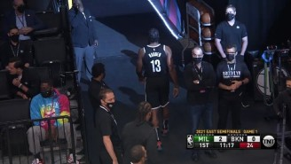James Harden Left Less Than A Minute Into Game 1 Against The Bucks With A Hamstring Injury (UPDATE)