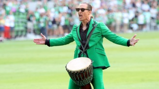 A Bongo-Wearing Matthew McConaughey Fired Up Fans Before His Soccer Team's First Home Game