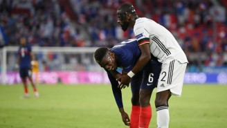 Antonio Rudiger Appeared To Bite Paul Pogba's Back During Germany-France