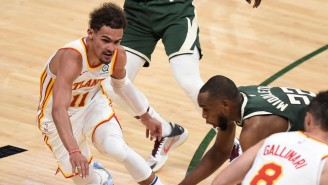 LeBron Lost It At Trae Young's Off-Glass Lob To John Collins And Shimmy Three-Pointer