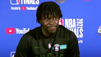 Jrue Holiday Had A Hilarious Reaction To Sitting In The Sweaty Seat In The Press Room PJ Tucker Left Him