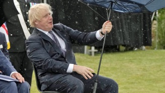 UK Prime Minister Boris Johnson Couldn't Control His Umbrella, And People Are Having A Field Day With It