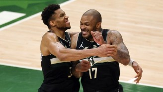 Giannis' Reaction To PJ Tucker Showing Up To Game 6 With Actual Diamond Shoes Is Priceless