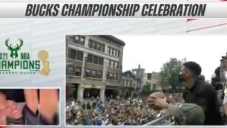 Giannis Antetokounmpo Took 17 Seconds To Shoot A Free Throw At The Bucks Championship Parade
