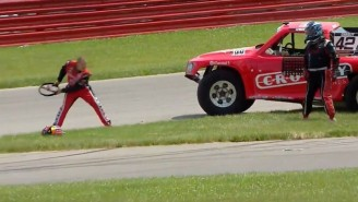 This Truck Race Fight Involving A Steering Wheel Getting Thrown Is The Funniest Thing You'll See Today