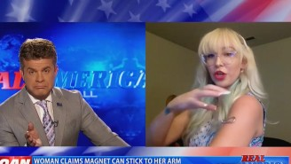 This OAN Host Wants To Believe His Nutty Guest's Claims (That The Pfizer Vaccine Made Her Magnetic) So Bad It Hurts