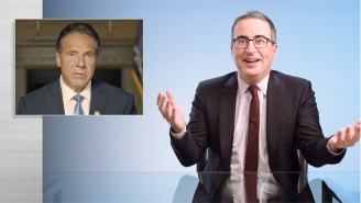 John Oliver Can't Believe Gov. Cuomo Tried To Defend Himself With A Montage Of Himself Touching And Kissing People