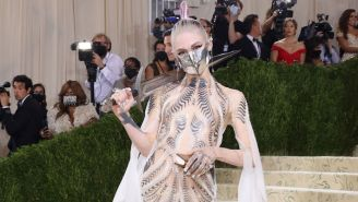 Grimes' Met Gala Look Was Completed By A MSCHF Sword Made Out Of An AR-15
