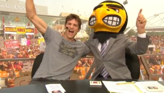 'College GameDay' Guest Picker Ashton Kutcher Got Hit With A 'Take A Shower' Chant By Iowa State Fans