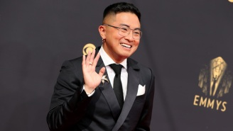 Bowen Yang's Shiny Silver Boots From The Emmys Are Already All Sold Out (But You Can Still Get Them In Black)