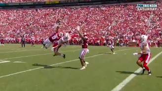 Oklahoma's DJ Graham Had The Interception Of The Year With This Diving One-Handed Snag Against Nebraska