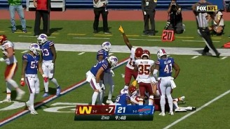 Washington's Kicker Recovered An Accidental Onside Kick 50 Yards Downfield Against The Bills