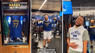 The Warriors Made Klay Thompson A Jersey For Being The 77th Best Player In NBA History After His Top 75 Snub