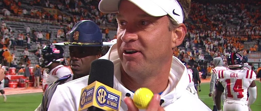 Lane Kiffin Got Hit With A Golf Ball As Tennessee Fans Protested A Call By Throwing Things On The Field Against Ole Miss